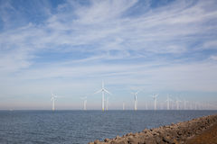 View of windpark in the Dutch Noordoostpolder, Flevoland Royalty Free Stock Image