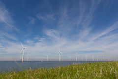View of windpark in the Dutch Noordoostpolder, Flevoland Stock Image