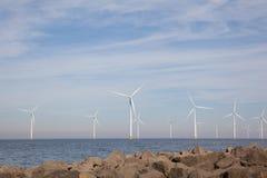 View of windpark in the Dutch Noordoostpolder, Flevoland Royalty Free Stock Photo