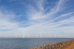 View of windpark in the Dutch Noordoostpolder Stock Photo