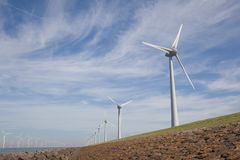 View of windpark in the Dutch Noordoostpolder, Flevoland and the Royalty Free Stock Image