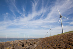 View of windpark in the Dutch Noordoostpolder, Flevoland and the Royalty Free Stock Photography