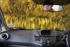 View Through Windshield In Automated Car Wash Royalty Free Stock Photos