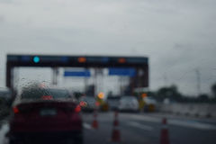 View through the windshield on the road checkpoint moterway in t Stock Photography