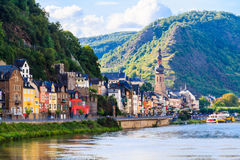 View of the wine town Cochem at the Moselle Stock Photos