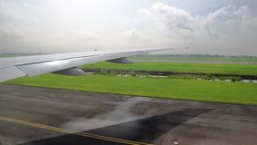 View of the wing of the aircraft from the window. aviation and passenger transportation.  stock video footage