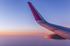View of the wing of the aircraft from the window Stock Photography