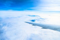 View of the wing of an airplane through the window Royalty Free Stock Images