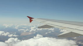 View on the Wing of airplane stock footage