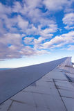 View of the wing of an airplane through the window Royalty Free Stock Photos