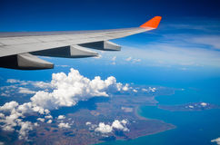 View of the wing. Of the ocean and the islands of Indonesia Stock Photography