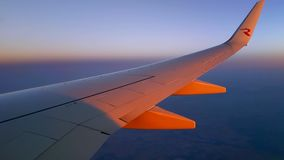 View of the wing at sunset stock video footage