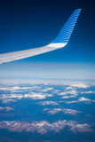 View of the wing tip of the aircraft. Shevelev. Stock Photos