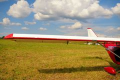 View of a wing of the ultralight plane Royalty Free Stock Images