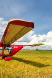 View of a wing of the ultralight plane Stock Photos