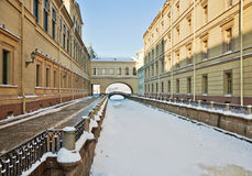 View of Winter Canal. St. Petersburg. Russia. Royalty Free Stock Images