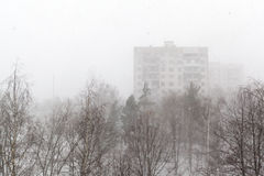 View on winter city and snow storm Stock Images