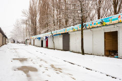 View of the winter closed and looted halls on the way to the sea in the resort village Vityaz Stock Images