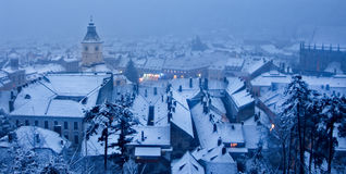 view of a Winter day over the city of Brasov Romania snow Royalty Free Stock Photography