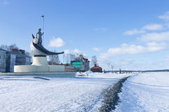 View of winter embankment of Lake Onega, Petrozavodsk, Russia. Sculpture Birth of Petrozavodsk Royalty Free Stock Image