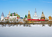 View winter Izmailovo Kremlin in Moscow Stock Photo