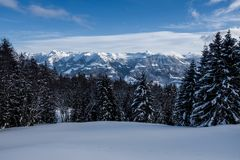 View of a winter landscape in Obwalden, Switzerland, taken at the Glaubenberg stock images
