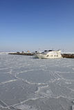 View of winter marina in Odessa. Royalty Free Stock Photos