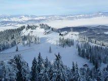 Winter mountain panorama at Poiana Brasov ski resort