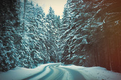 View at winter mountain road Royalty Free Stock Photography