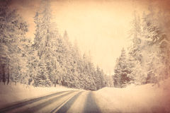 View at winter mountain road Stock Images