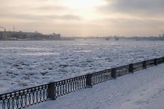 View of the winter Neva river. From the Sinopskaya embankment in the evening Royalty Free Stock Photos