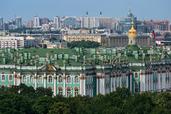 View of The Winter Palace from the colonnade of the Saint Isaac`s Cathedral. St. Petersburg, Russia. Royalty Free Stock Photo