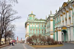 View of Winter Palace of Hermitage Museum. View of Winter Palace of Hermitage Museum in St. Petersburg at spring day, Russia Royalty Free Stock Image