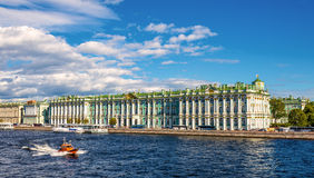 View of the Winter Palace with the Neva river in Saint Petersbur Stock Photography
