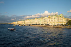 View of the Winter Palace and Palace Embankment august evening. St. Petersburg Stock Photography