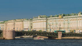 View Winter Palace in Saint Petersburg from Neva river. stock video footage