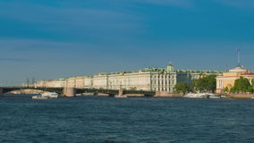 View Winter Palace in Saint Petersburg from Neva river. stock video