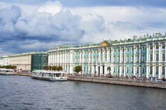 View Winter Palace  in  Saint Petersburg from Neva river. Russia Royalty Free Stock Images