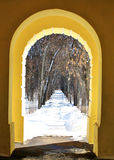 View of winter park  from the arch of the building. Alley of the park of the old homestead near Moscow in the winter Stock Images