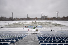 View on the winter play-field Royalty Free Stock Photos