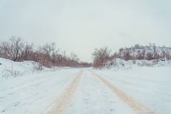 View on winter road royalty free stock photos