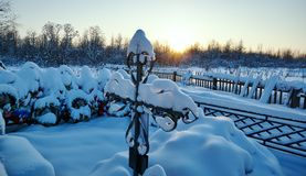 Winter snow-covered Orthodox cemetery Stock Photo