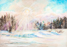 View on winter sun Royalty Free Stock Photography