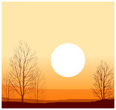 The view of Winter sunset royalty free illustration