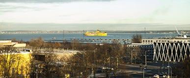 View of winter Tallinn city, Estonia skyline, overlooking the sea. Royalty Free Stock Photo