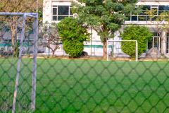 A view from the wire around to see the gol and football field. S Stock Photography