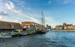View of Wismar Old harbor with ships and houses. Germany Stock Photography