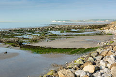 View on Wissant bay and Cap Blanc Nez at low tide royalty free stock photo