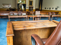 View from the witness stand. Courtroom, Storey County courthouse, Virginia City, Nevada stock photography