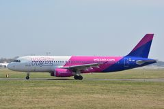 WizzAir plane view Royalty Free Stock Photos